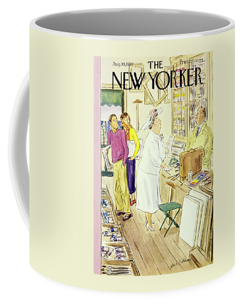 Matron Coffee Mug featuring the painting New Yorker August 19 1950 by Helene E Hokinson