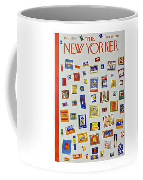 Christmas Coffee Mug featuring the painting New Yorker December 13 1958 by Anatole Kovarsky