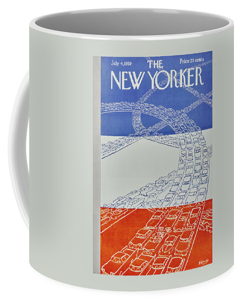 Bumper To Bumper Coffee Mug featuring the painting New Yorker July 4 1959 by Anatole Kovarsky