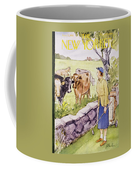 Golf Coffee Mug featuring the painting New Yorker June 11 1955 by Perry Barlow