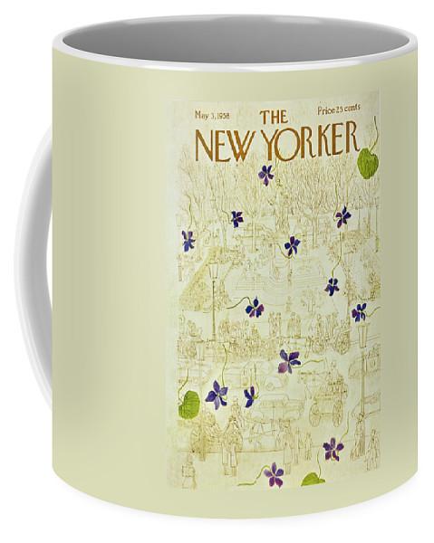 Flowers Coffee Mug featuring the painting New Yorker May 3 1958 by Ilonka Karasz