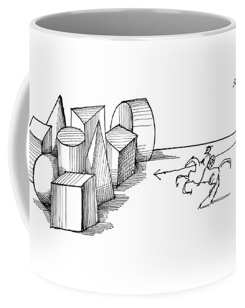 Don Quixote With Spear Pointed At Large Geometrical Figures. Coffee Mug featuring the drawing New Yorker May 7th, 1960 by Saul Steinberg