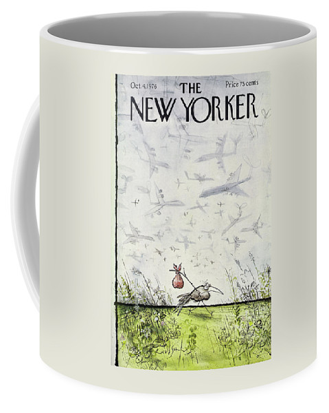 Travel Coffee Mug featuring the drawing New Yorker October 4 1976 by Ronald Searle