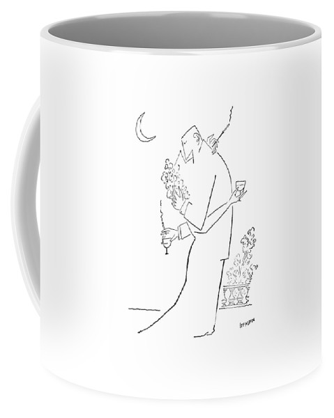 97437 Sst Saul Steinberg (couple Embrace. Both Are Holding A Cocktail Glass And A Cigarette.) Alcohol Attraction Attractive Beer Booze Both Chase Cigarette Cocktail Couple Drink Embrace ?irt ?irting Glass Hit Hitting Holding Likeness Love Marriage Men Personality Relations Relationships Romance Sex Sexual Sexy Similar Smoke Smoking Vice Women Coffee Mug featuring the drawing New Yorker September 5th, 1953 by Saul Steinberg