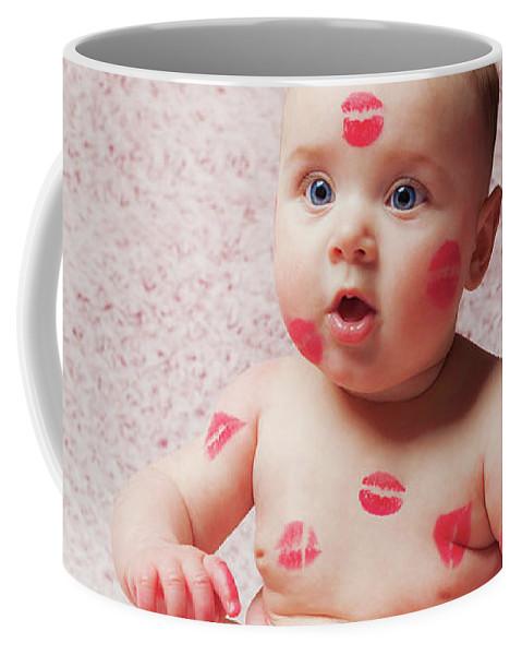 Newborn Coffee Mug featuring the photograph Newborn Baby Gir Filled Kisses by Antonio Gravante