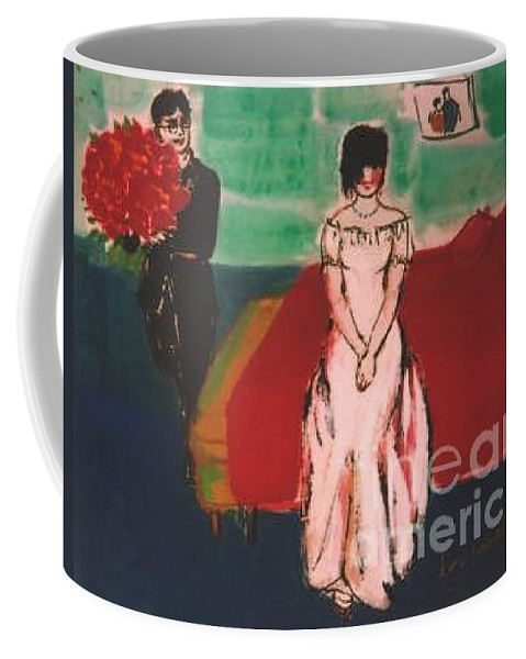 Chinese Coffee Mug featuring the painting Newly Weds by Meihua Lu