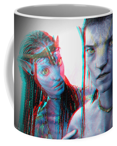 3d Coffee Mug featuring the photograph Neytiri And Jake Sully - Use Red-cyan 3d Glasses by Brian Wallace
