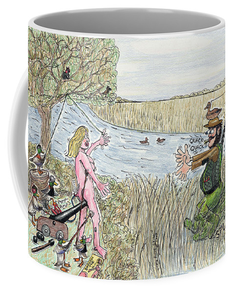 Duck Coffee Mug featuring the drawing Nice Mallards by Steve Royce Griffin