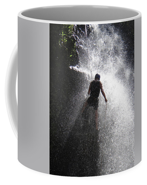 Kenyan Coffee Mug featuring the photograph Nick Dale Abseiling Down A Kenyan Waterfall by Ndp