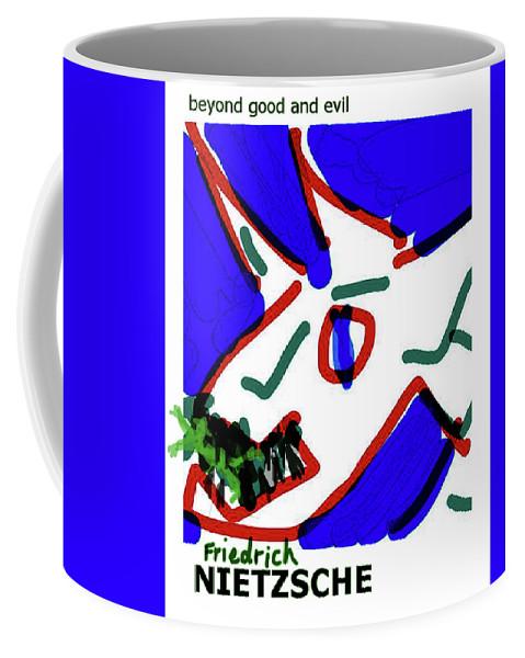 Nietzsche Coffee Mug featuring the drawing Nietzsche Poster by Paul Sutcliffe