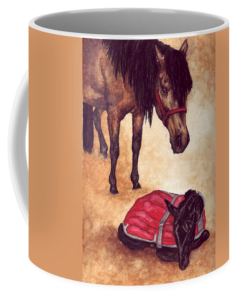 Horse Coffee Mug featuring the painting Nifty And Hannah by Kristen Wesch