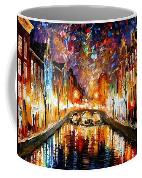 Afremov Coffee Mug featuring the painting Night Amsterdam by Leonid Afremov