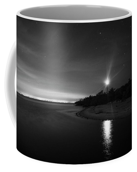 Sanibel Island Coffee Mug featuring the photograph Night At The Sanibel Lighthouse In Black And White by Chrystal Mimbs