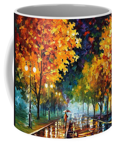 Afremov Coffee Mug featuring the painting Night Autumn Park by Leonid Afremov