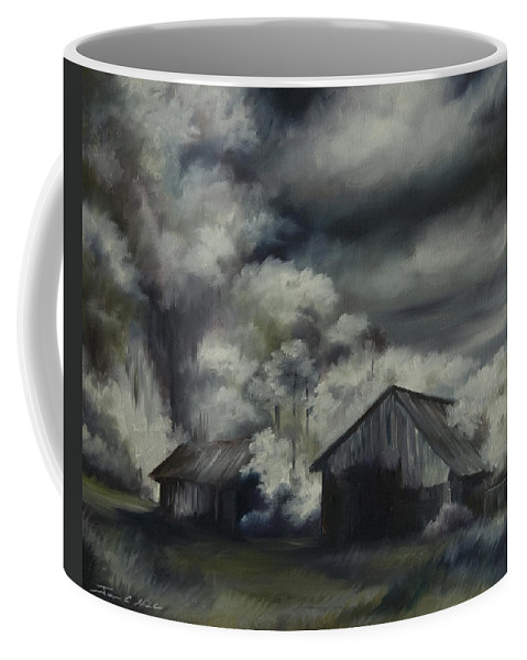 Motel; Route 66; Desert; Abandoned; Delapidated; Lost; Highway; Route 66; Road; Vacancy; Run-down; Building; Old Signage; Nastalgia; Vintage; James Christopher Hill; Jameshillgallery.com; Foliage; Sky; Realism; Oils; Barn Coffee Mug featuring the painting Night Barn by James Christopher Hill