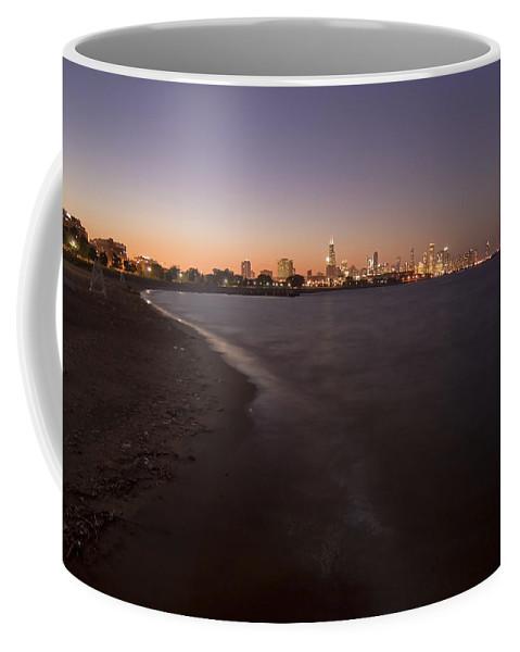 Night Beach Coffee Mug featuring the photograph Night Beach And Chicago Skyline by Sven Brogren