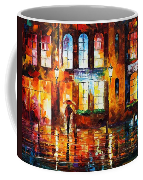 Afremov Coffee Mug featuring the painting Night City by Leonid Afremov