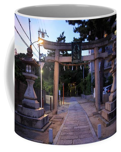 Esaka Coffee Mug featuring the photograph Night Falls On Esaka Shrine by Osaze Cuomo