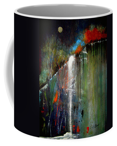 Abstract Coffee Mug featuring the painting Night Falls by Ruth Palmer