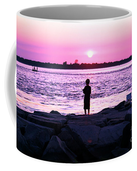 Night Fishing On Long Beach Island Coffee Mug featuring the photograph Night Fishing On Long Beach Island by John Rizzuto