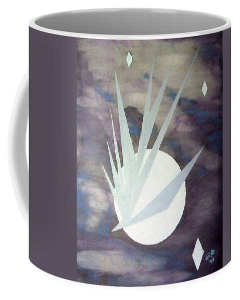 Moon With Hawke And Diamond Stars Coffee Mug featuring the painting Night Hawke 2 by J R Seymour