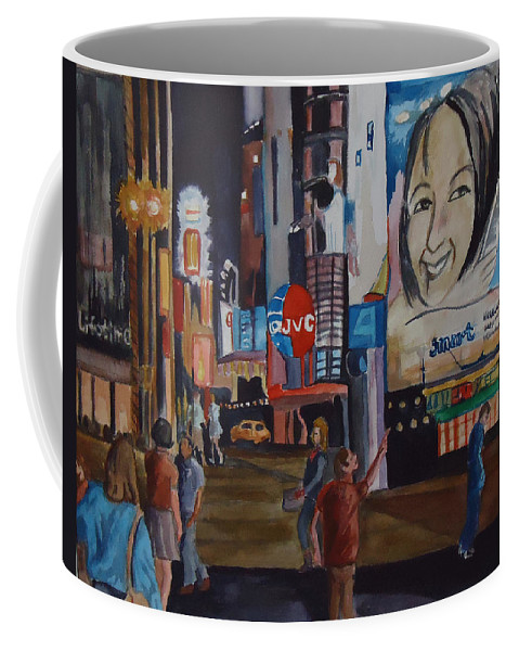 City Coffee Mug featuring the painting Night In Time Square by Charme Curtin