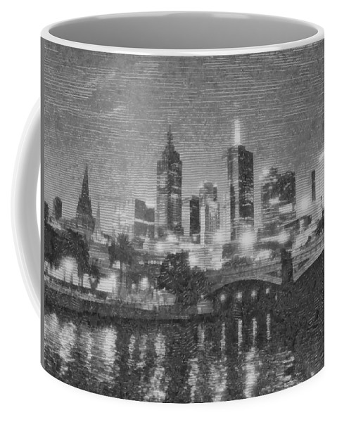 Abstract Coffee Mug featuring the photograph Night Landscape In Melbourne by Ashish Agarwal