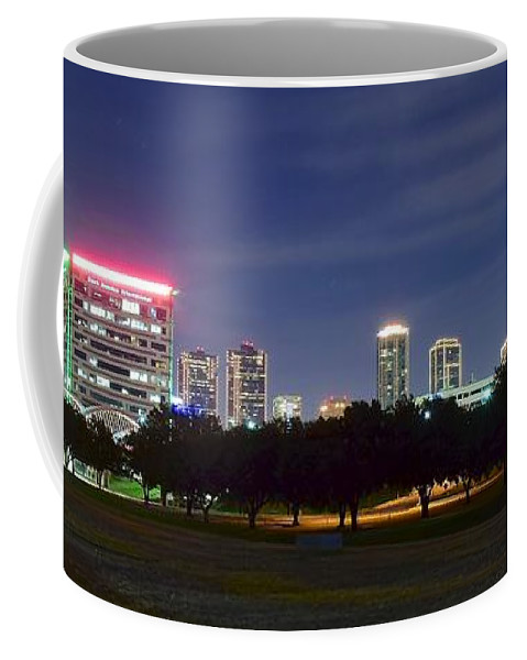 Fort Coffee Mug featuring the photograph Night Pano Of Fort Worth by Frozen in Time Fine Art Photography