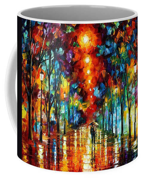 Afremov Coffee Mug featuring the painting Night Park by Leonid Afremov