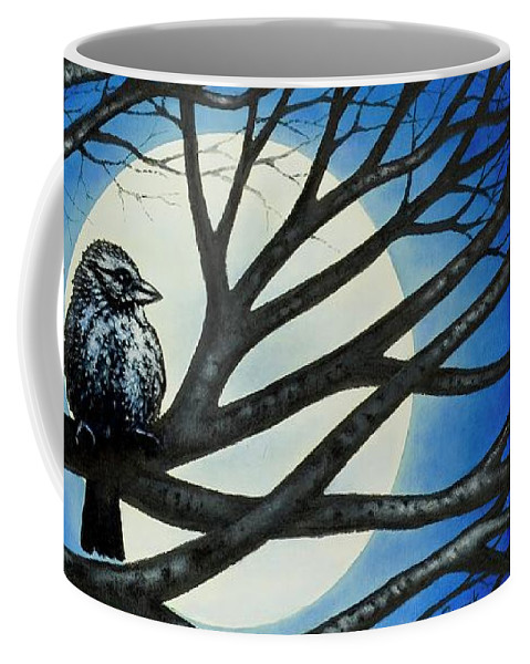 Full Moon Coffee Mug featuring the painting Night Perch by Michael Frank