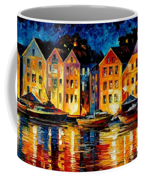 City Coffee Mug featuring the painting Night Resting Original Oil Painting by Leonid Afremov