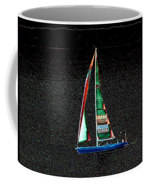 Seattle Coffee Mug featuring the photograph Night Sail 2 by Tim Allen