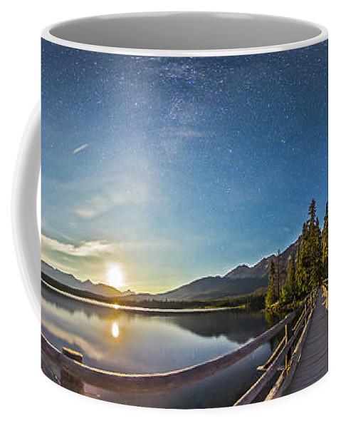 Panorama Coffee Mug featuring the photograph Night Sky Panorama Of Pyramid Lake by Alan Dyer