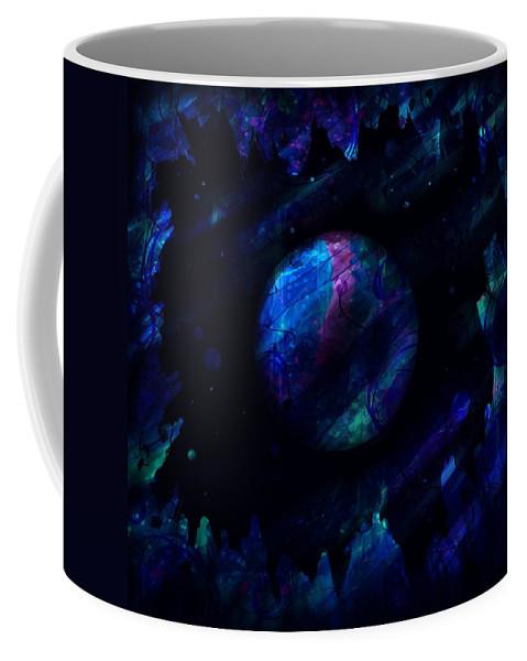 Abstract Coffee Mug featuring the digital art Night Sky by Rachel Christine Nowicki