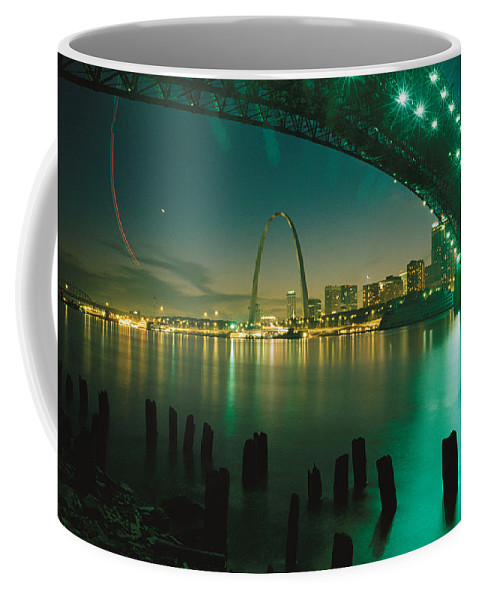 North America Coffee Mug featuring the photograph Night View Of St. Louis, Mo by Michael S. Lewis