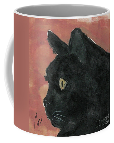 Cat Coffee Mug featuring the mixed media Night Vision by Cori Solomon