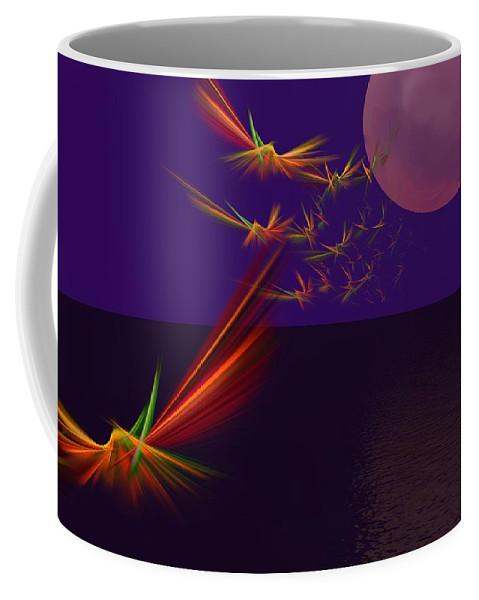 Abstract Digital Photo Coffee Mug featuring the digital art Night Wings by David Lane