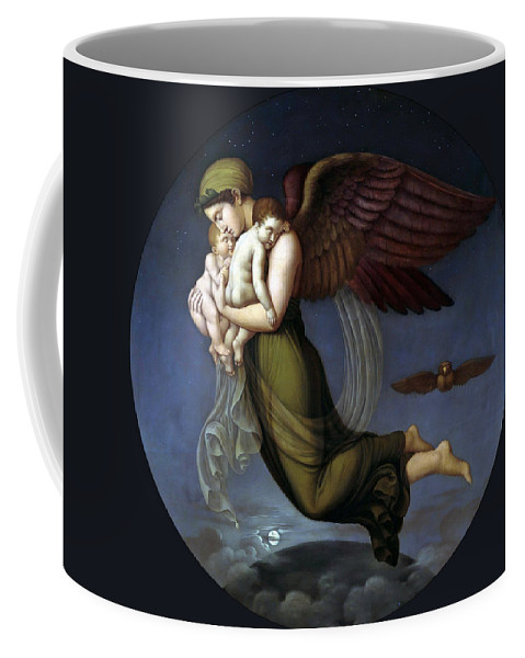 Adolf Senff Coffee Mug featuring the painting Night With Her Children by Adolf Senff