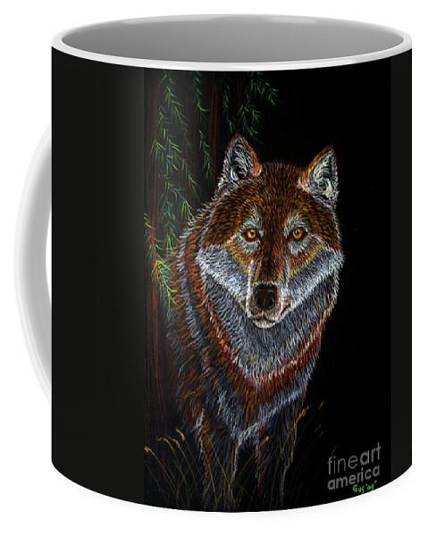 Wolf Coffee Mug featuring the drawing Night Wolf by Nick Gustafson