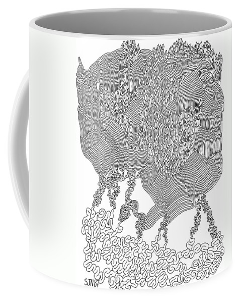 Mazes Coffee Mug featuring the drawing Nightmare by Steven Natanson