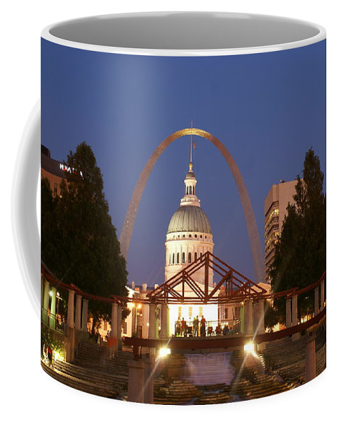 Saint Louis Coffee Mug featuring the photograph Nighttime At The Arch by Marty Koch
