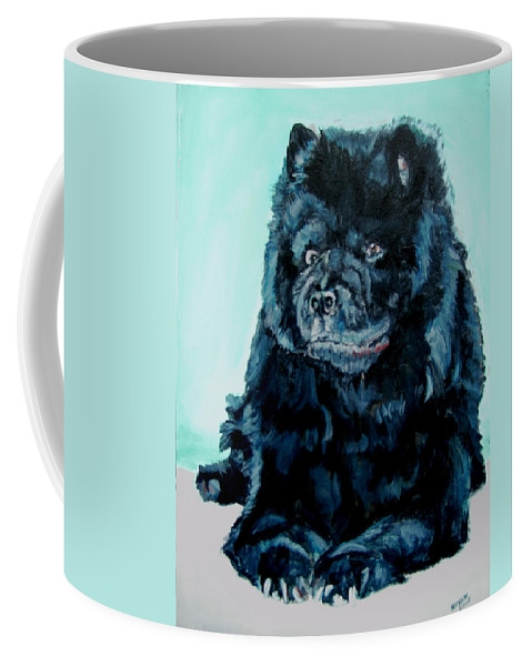 Dog Coffee Mug featuring the painting Nikki The Chow by Bryan Bustard