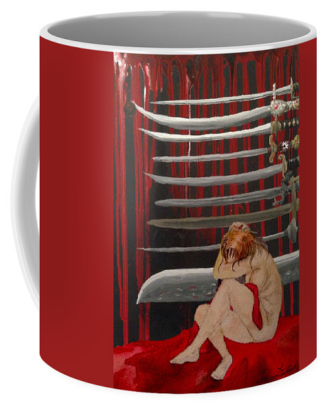 Tarot Coffee Mug featuring the painting Nine Of Swords by Amy Lionheart