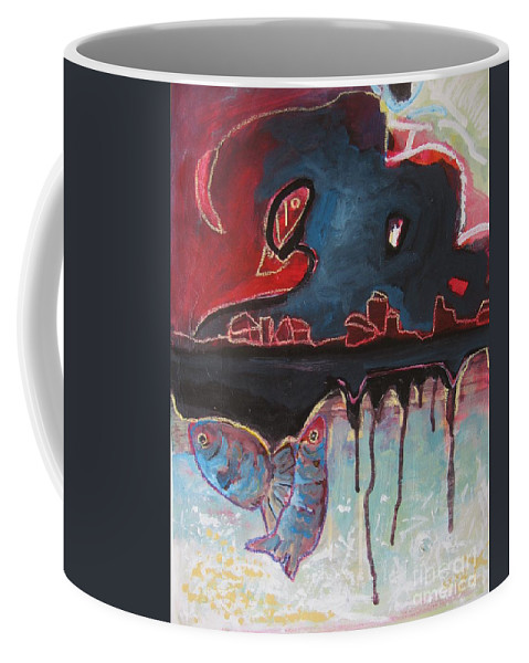 Abstract Paintings Coffee Mug featuring the painting Nipper by Seon-Jeong Kim