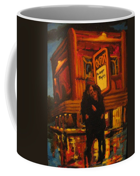 Wet Streets Coffee Mug featuring the painting No Longer Playing by John Malone
