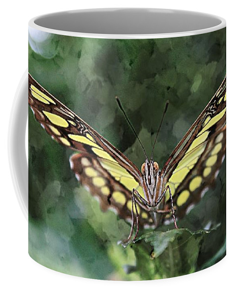 Malachite Butterfly Coffee Mug featuring the photograph No Trespassing by Clare Bevan