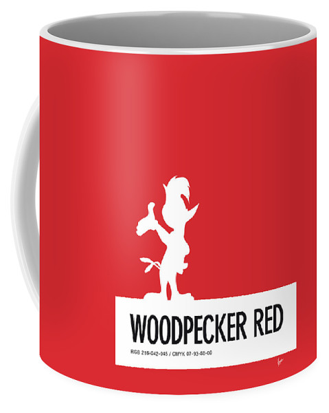 Looney Coffee Mug featuring the digital art No12 My Minimal Color Code Poster Woody Woodpecker by Chungkong Art