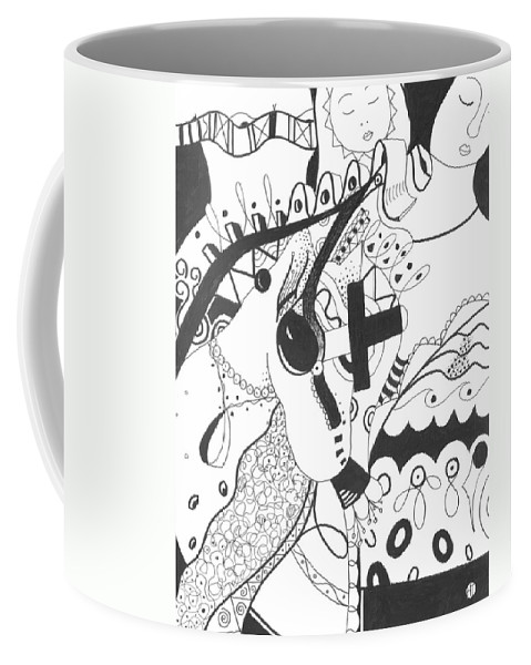 Animal Coffee Mug featuring the drawing Nobody Really Knows by Helena Tiainen