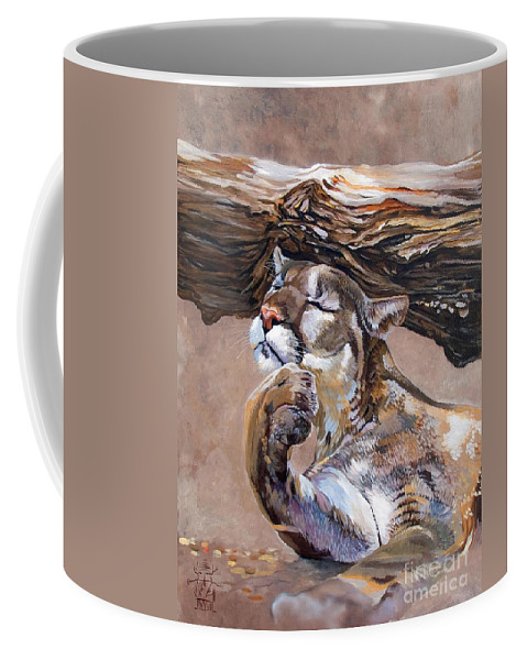 Catamount Coffee Mug featuring the painting Nonchalant by J W Baker