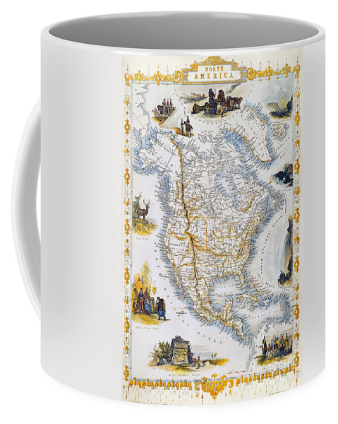 1851 Coffee Mug featuring the photograph North American Map, 1851 by Granger